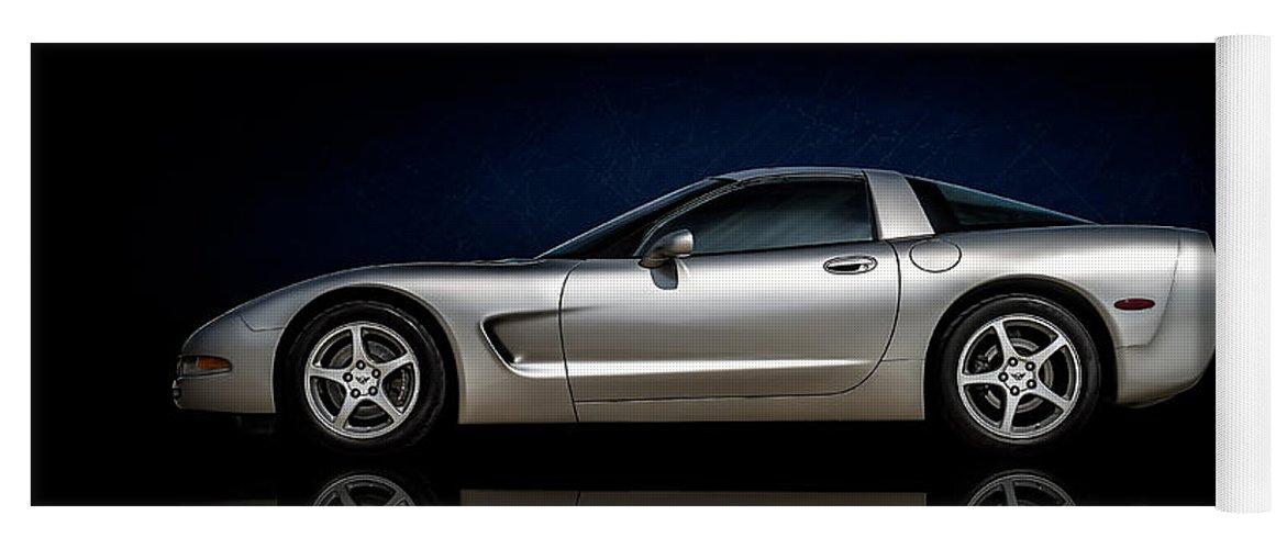 Corvette Yoga Mat featuring the digital art Silver C5 by Douglas Pittman
