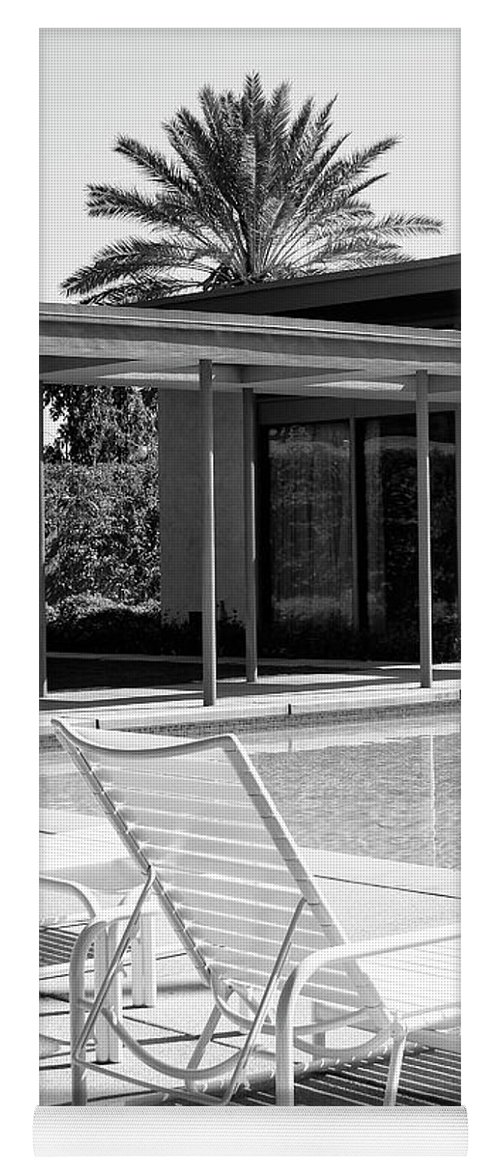 Featured Yoga Mat featuring the photograph Sinatra Pool Bw Palm Springs by William Dey