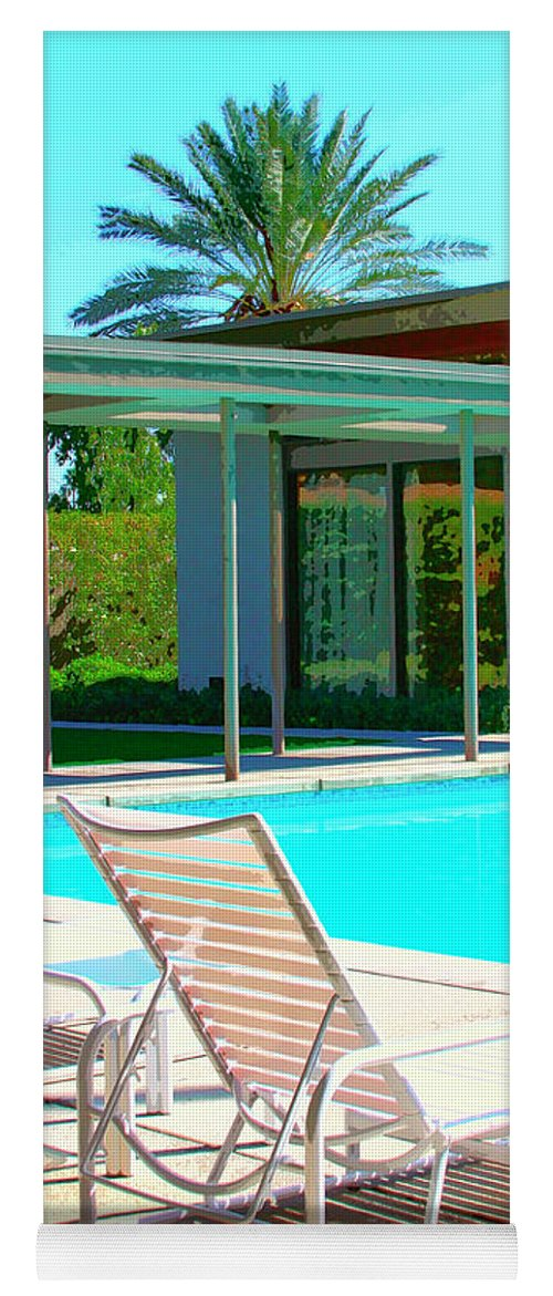 Sinatra House Yoga Mat featuring the photograph Sinatra Pool Palm Springs by William Dey