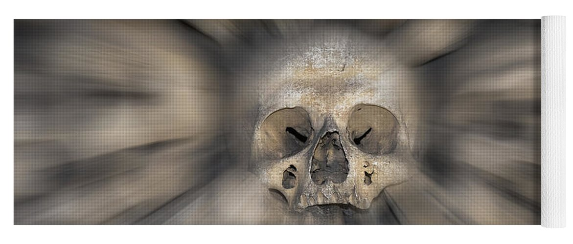 Halloween Yoga Mat featuring the photograph Skull - Fear And Trembling by Michal Boubin