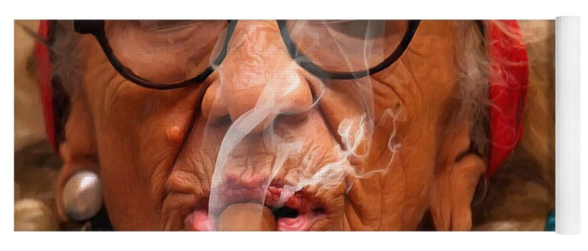 Smoking Yoga Mat featuring the digital art Smoking - Caribbean Serie by Gabriel T Toro