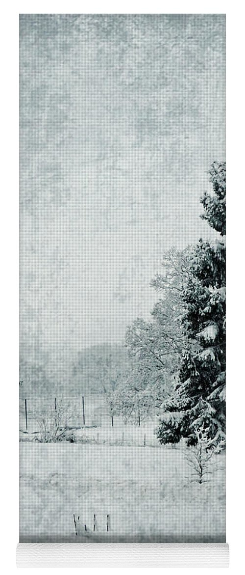 Landscape Yoga Mat featuring the photograph Snow Firs by Callan Art