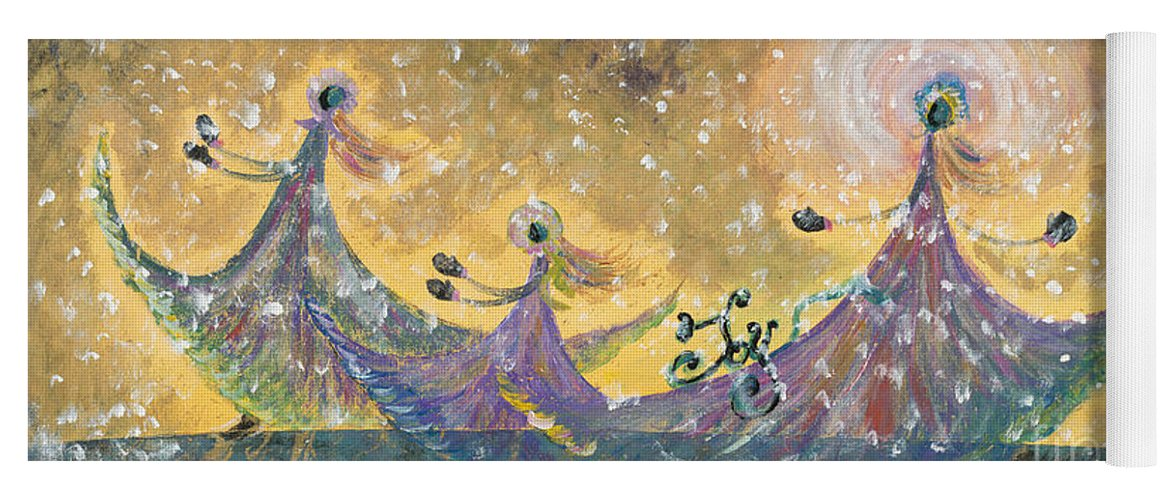 Joy Yoga Mat featuring the painting Snow Joy by Nadine Rippelmeyer