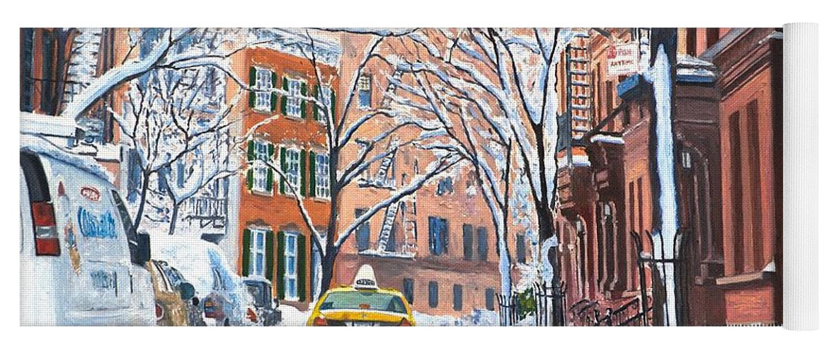 Snow Yoga Mat featuring the painting Snow West Village New York City by Anthony Butera