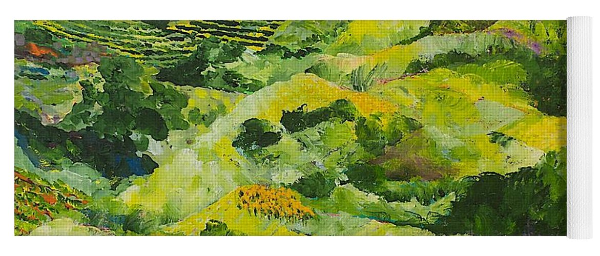 Landscape Yoga Mat featuring the painting Soft Grass by Allan P Friedlander