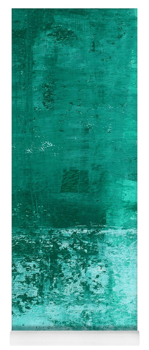 Abstract Art Yoga Mat featuring the painting Soothing Sea - Abstract Painting by Linda Woods