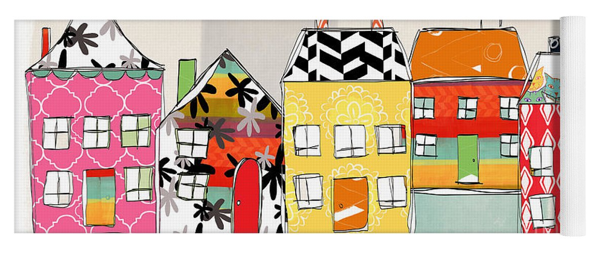 Houses Yoga Mat featuring the mixed media Spirit House Row by Linda Woods