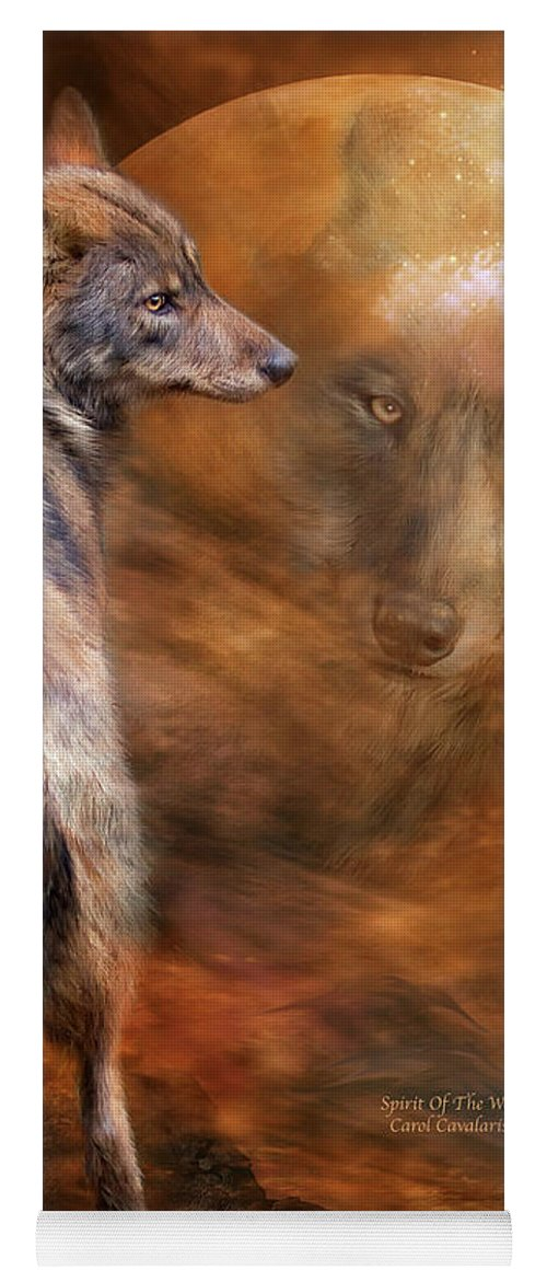 Wolf Art Yoga Mat featuring the mixed media Spirit Of The Wolf by Carol Cavalaris
