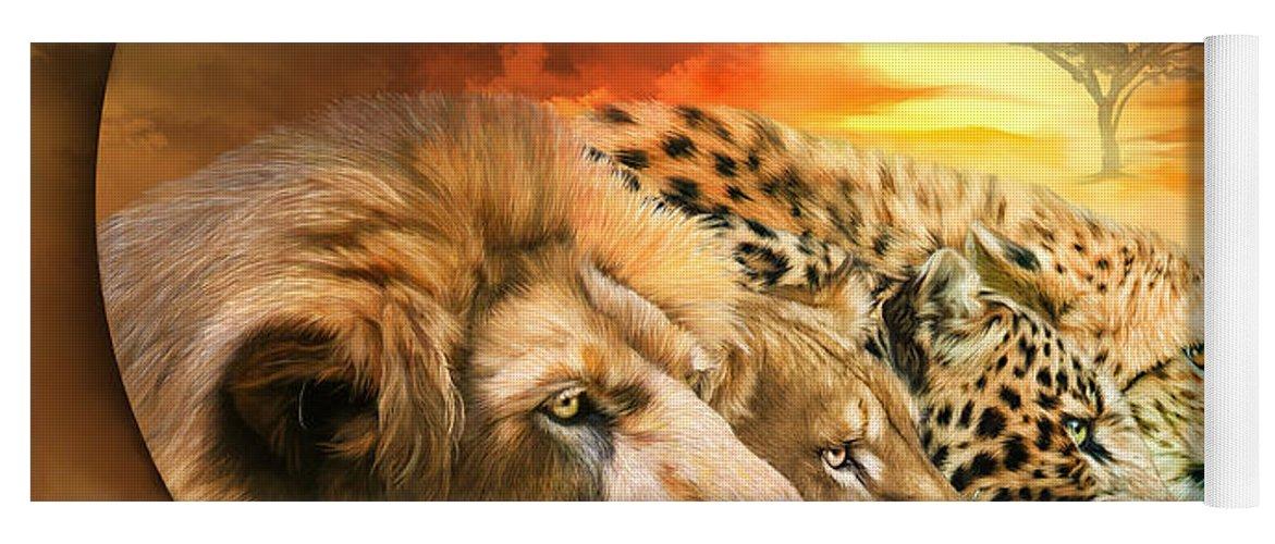 Big Cat Yoga Mat featuring the mixed media Spirits Of The Savannah by Carol Cavalaris