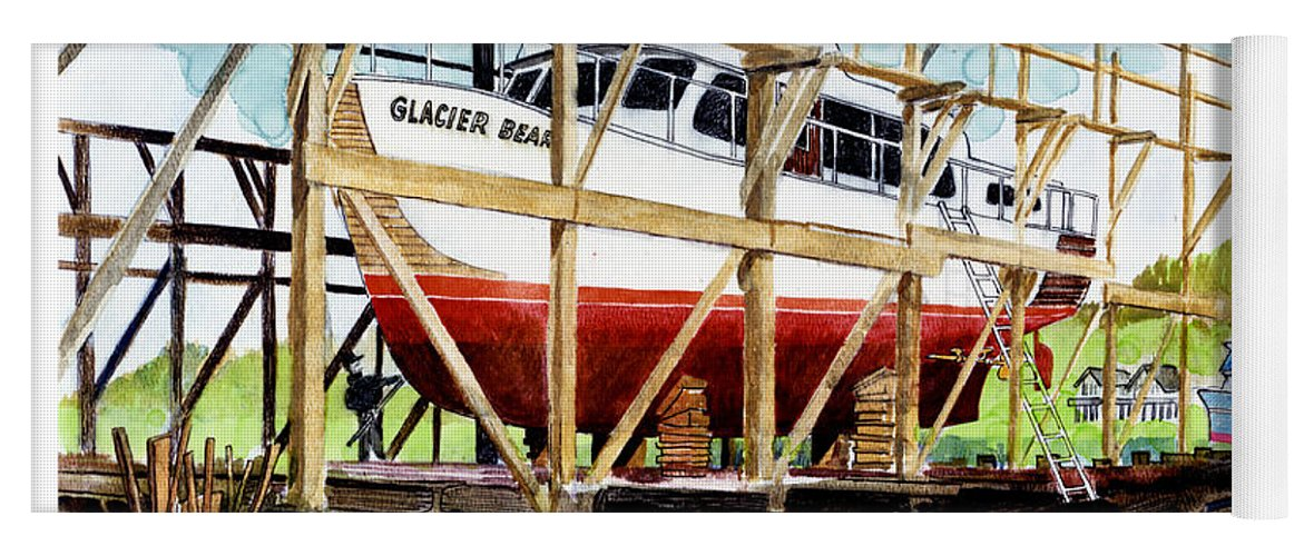 Marinas Yoga Mat featuring the painting Yacht Glacier Bear Hauled Out In Gig Harbor by Jack Pumphrey