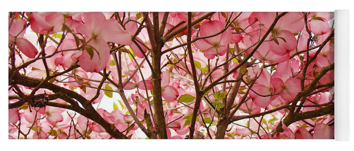 Dogwood Yoga Mat featuring the photograph Spring Pink Dogwood Tree Blososms Art Prints by Baslee Troutman