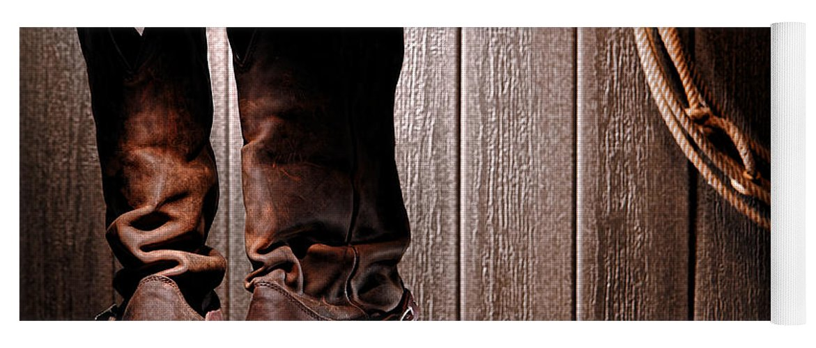 Western Yoga Mat featuring the photograph Spurs On Cowboy Boots Heels by Olivier  Le Queinec 9126b43c3a0a