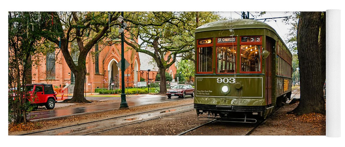 Garden District Yoga Mat featuring the photograph St. Charles Ave. Streetcar In New Orleans by Kathleen K Parker