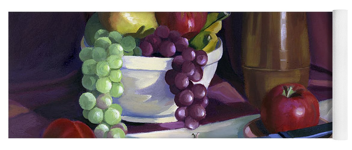 Fine Art Yoga Mat featuring the painting Still Life with Apples by Nancy Griswold