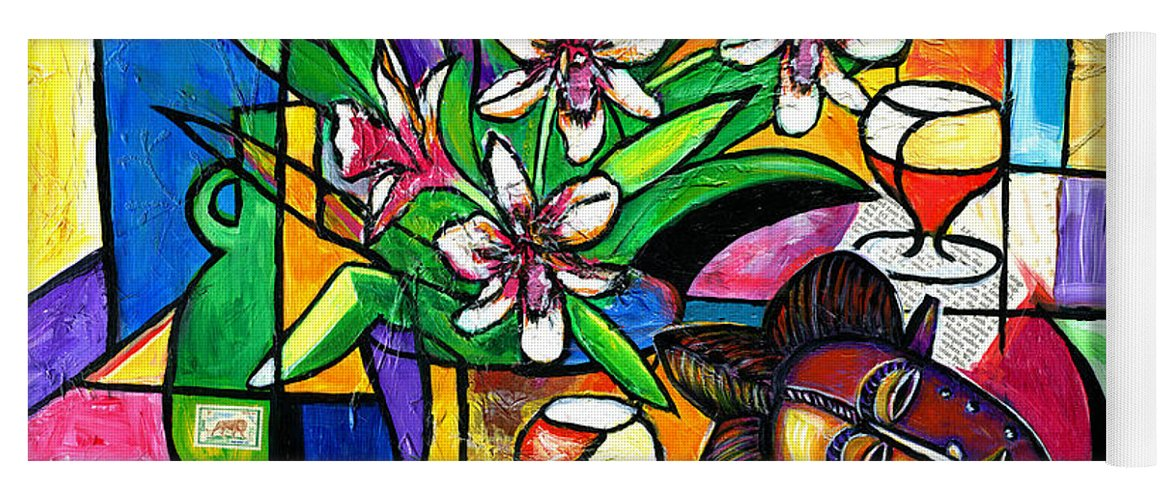 Everett Spruill Yoga Mat featuring the painting Still LIfe with Orchids and African Mask by Everett Spruill