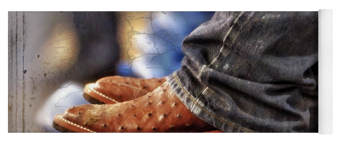 Adult Yoga Mat featuring the photograph Stockshow Boots IIi by Joan Carroll