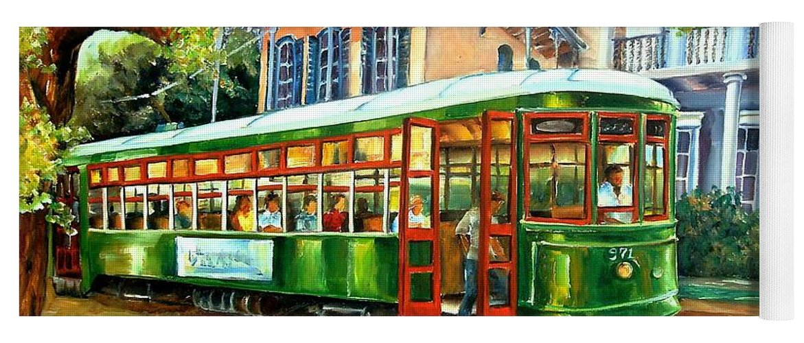New Orleans Yoga Mat featuring the painting Streetcar On St.charles Avenue by Diane Millsap