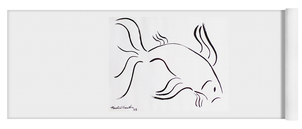 Abstract Yoga Mat featuring the drawing Strength by Micah Guenther