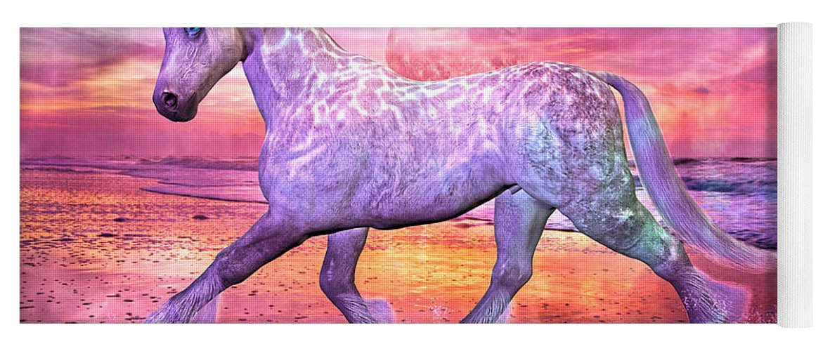 Horse Yoga Mat featuring the mixed media Strolling In Paradise by Betsy Knapp
