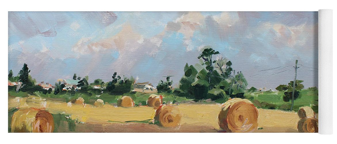 Summer Yoga Mat featuring the painting Summer Fields In Georgetown On by Ylli Haruni