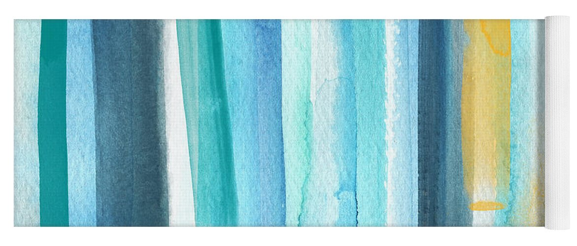 Water Yoga Mat featuring the painting Summer Surf- Abstract Painting by Linda Woods