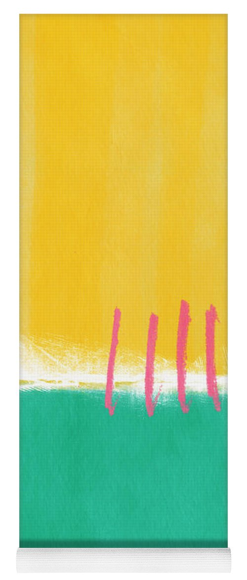 Large Contemporary Abstract Landscape Yoga Mat featuring the painting Summer Walk by Linda Woods