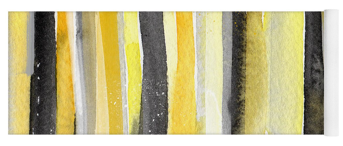 Abstract Yellow And Grey Painting Yoga Mat featuring the painting Sun and Shadows- abstract painting by Linda Woods