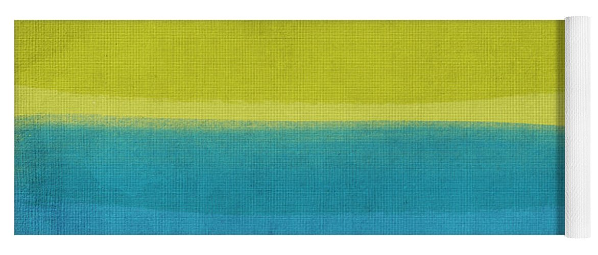 Abstract Yoga Mat featuring the painting Sun And Surf by Linda Woods