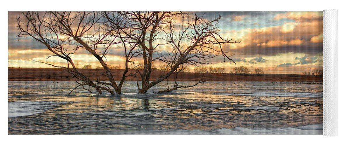 Sunset Yoga Mat featuring the photograph Sunset At Walnut Lake by Nikolyn McDonald