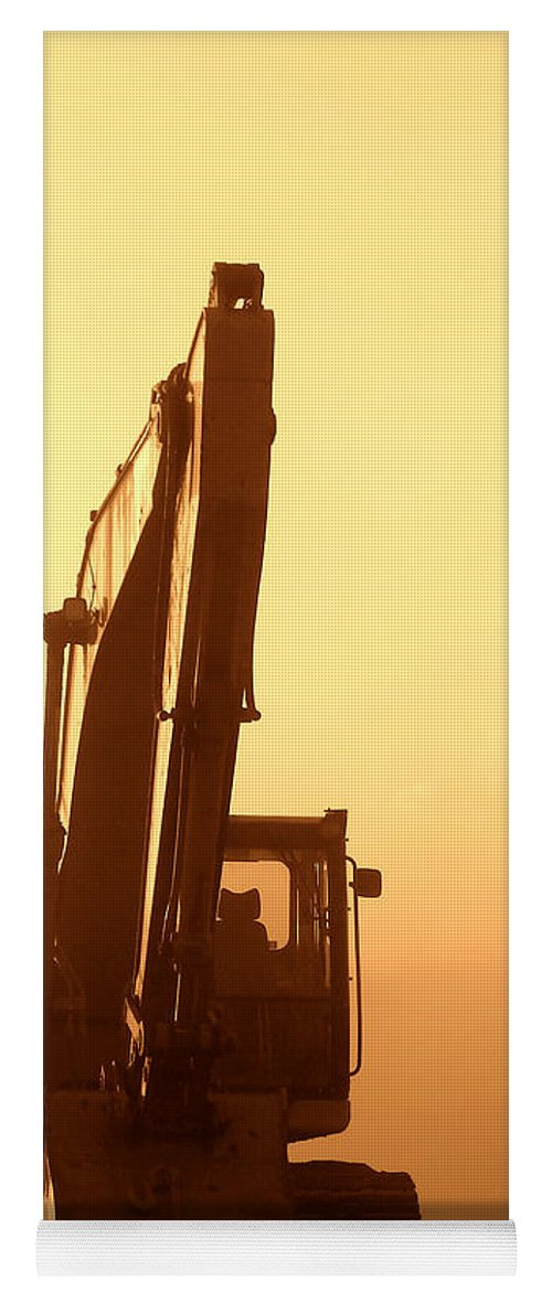 Excavator Yoga Mat featuring the photograph Sunset Excavator by Olivier Le Queinec