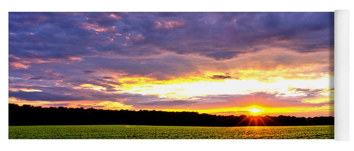 Sunset Yoga Mat featuring the photograph Sunset Over Farmland by Olivier Le Queinec