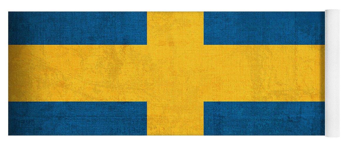 Sweden Flag Vintage Distressed Finish Yoga Mat featuring the mixed media Sweden Flag Vintage Distressed Finish by Design Turnpike