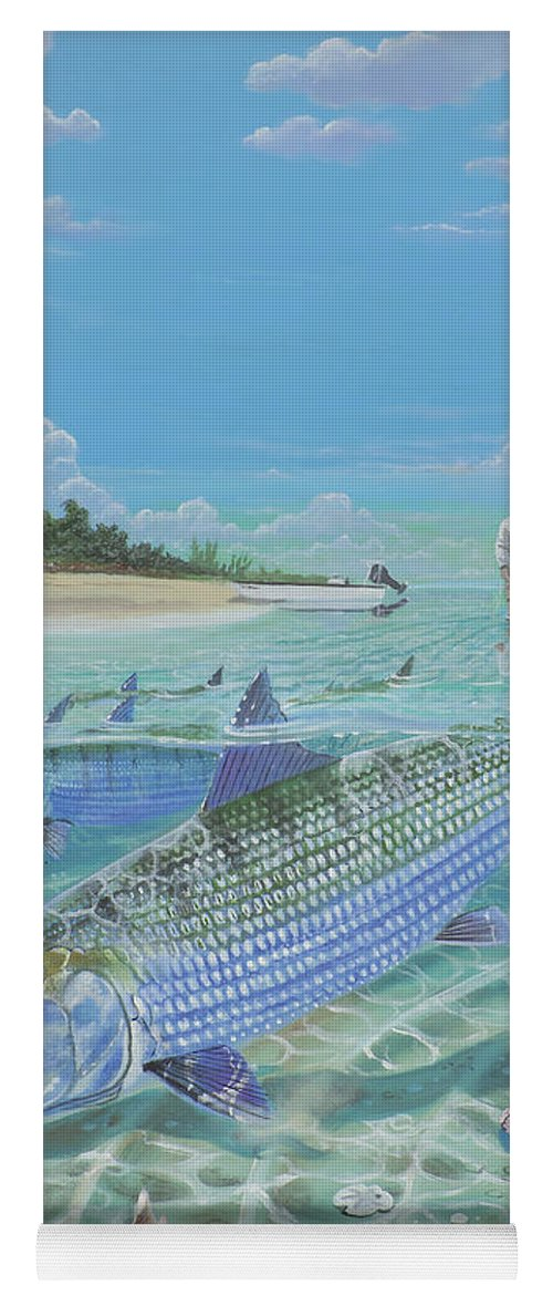 Bonefish Yoga Mat featuring the painting Tailing Bonefish In003 by Carey Chen