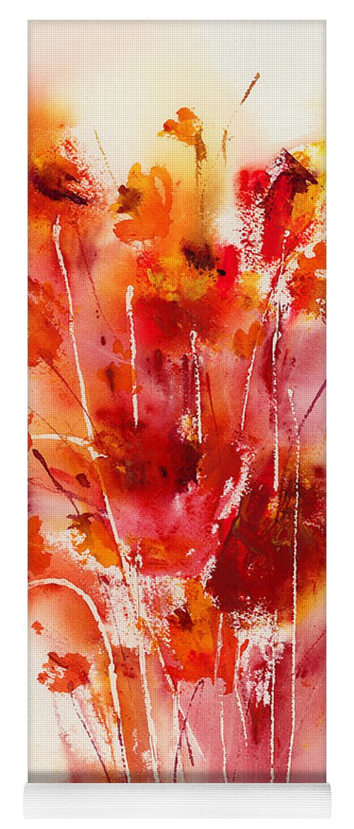 Flowers Yoga Mat featuring the painting Tangerine Tango by Hailey E Herrera