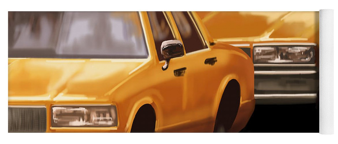 Taxi Yoga Mat featuring the painting Taxi by Veronica Minozzi