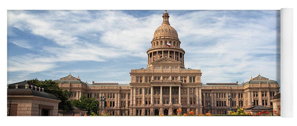 Joan Carroll Yoga Mat featuring the photograph Texas State Capitol II by Joan Carroll