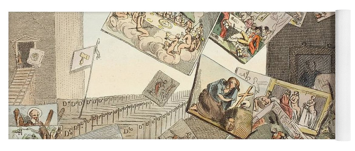 Satire Yoga Mat featuring the drawing The Battle Of The Pictures by William Hogarth