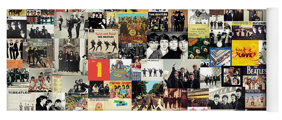 The Beatles Yoga Mat featuring the digital art The Beatles Collage by Zapista OU