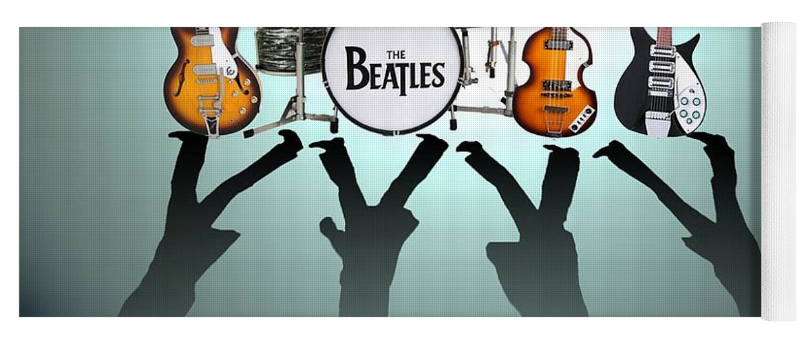The Beatles Yoga Mat featuring the digital art The Beatles by Yelena Day