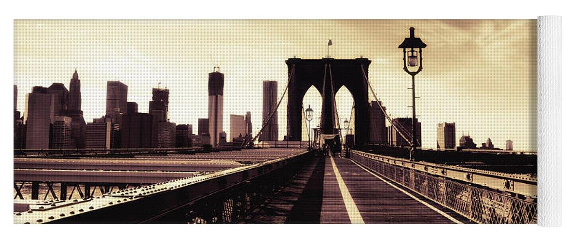 New York City Yoga Mat featuring the photograph The Brooklyn Bridge - New York City by Vivienne Gucwa