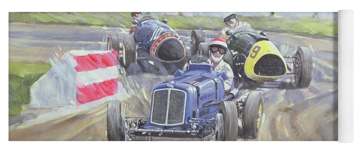 Classic Cars Yoga Mat featuring the painting The First Race At The Goodwood Revival by Clive Metcalfe