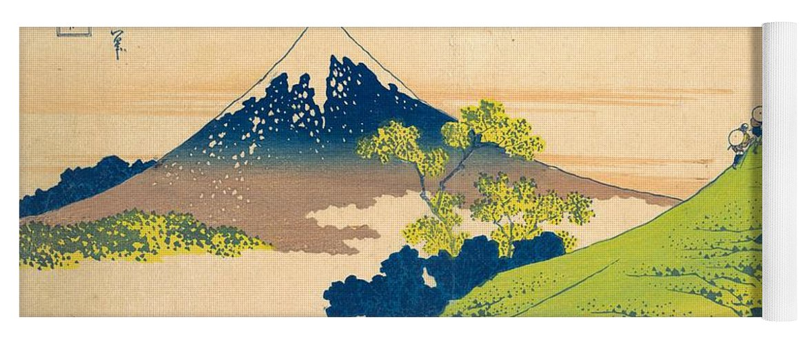 1830-1832 Yoga Mat featuring the painting The Inume Pass In Kai Province by Katsushika Hokusai