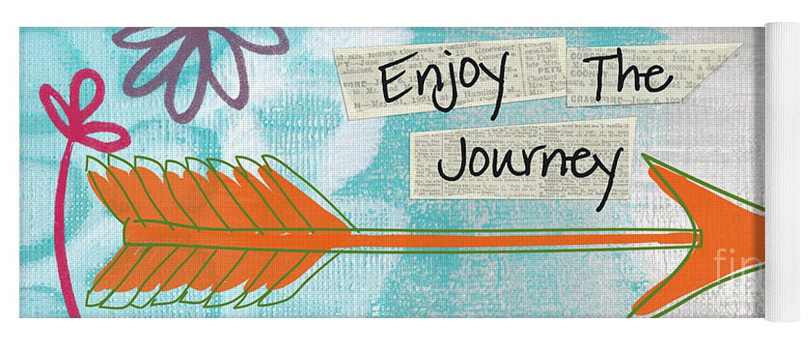 Arrow Yoga Mat featuring the painting The Journey by Linda Woods