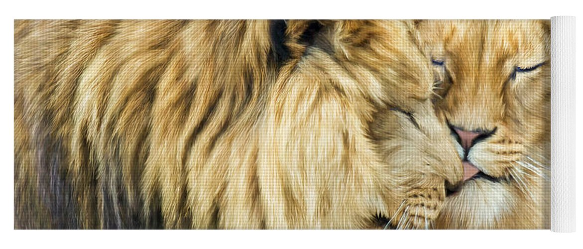 Lion Yoga Mat featuring the mixed media The Kiss by Carol Cavalaris