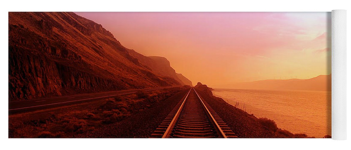 Columbia River Yoga Mat featuring the photograph The Long Walk To No Where by Jeff Swan