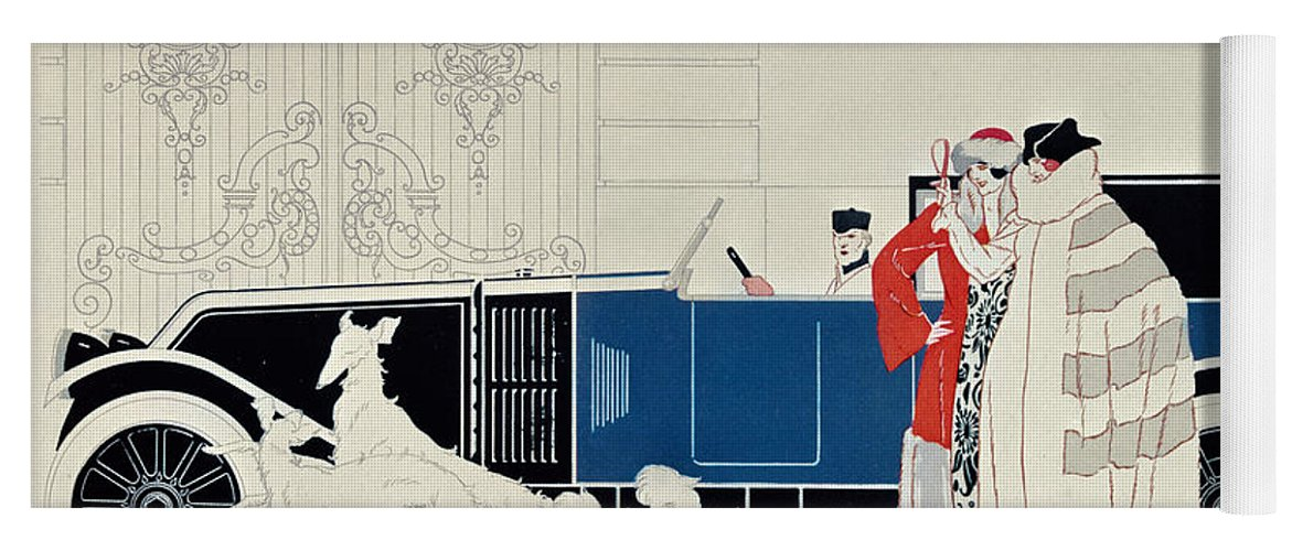 La Nouvelle 6 Cylindres Yoga Mat featuring the drawing The New 6 Cylinder Renault, C 1920 by Rene Vincent