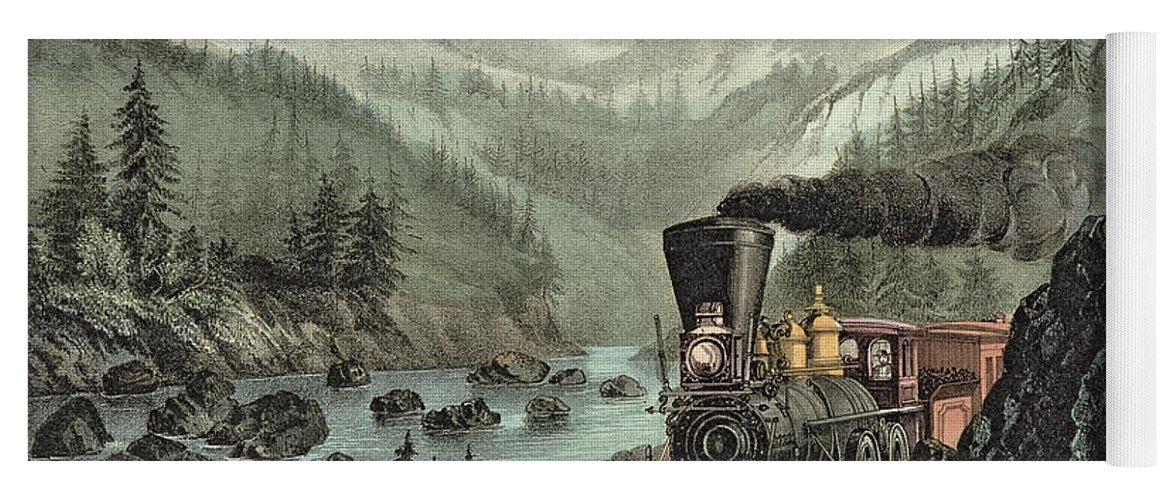 Cowcatcher Yoga Mat featuring the painting The Route To California by Currier and Ives