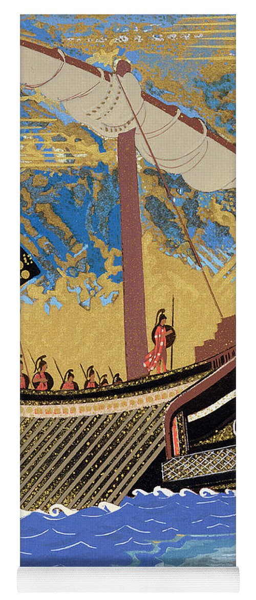 Boat Yoga Mat featuring the painting The Ship Of Odysseus by Francois-Louis Schmied