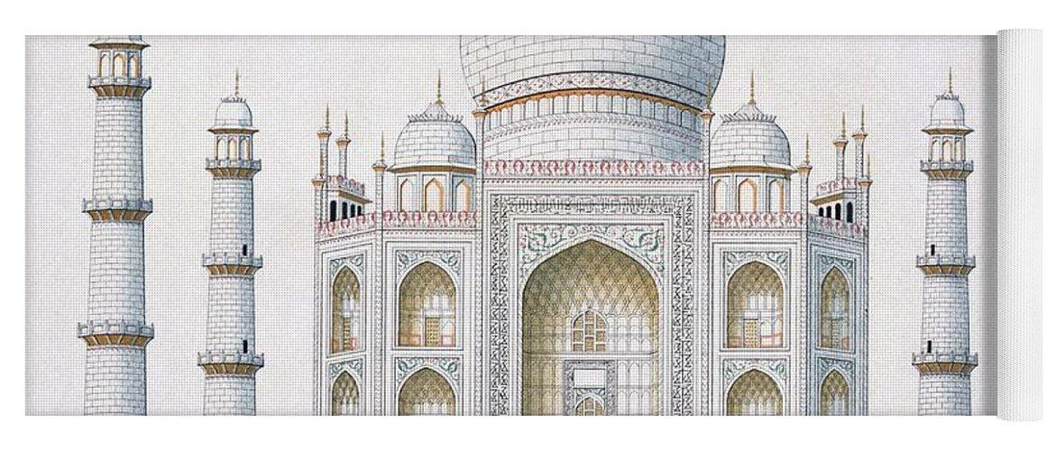 Taj Mahal Yoga Mat featuring the drawing The Taj Mahal by German School