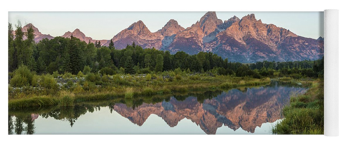 The Tetons Reflected On Schwabachers Landing Grand Teton National Park At Sunrise Yoga Mat featuring the photograph The Tetons Reflected On Schwabachers Landing - Grand Teton National Park Wyoming by Brian Harig